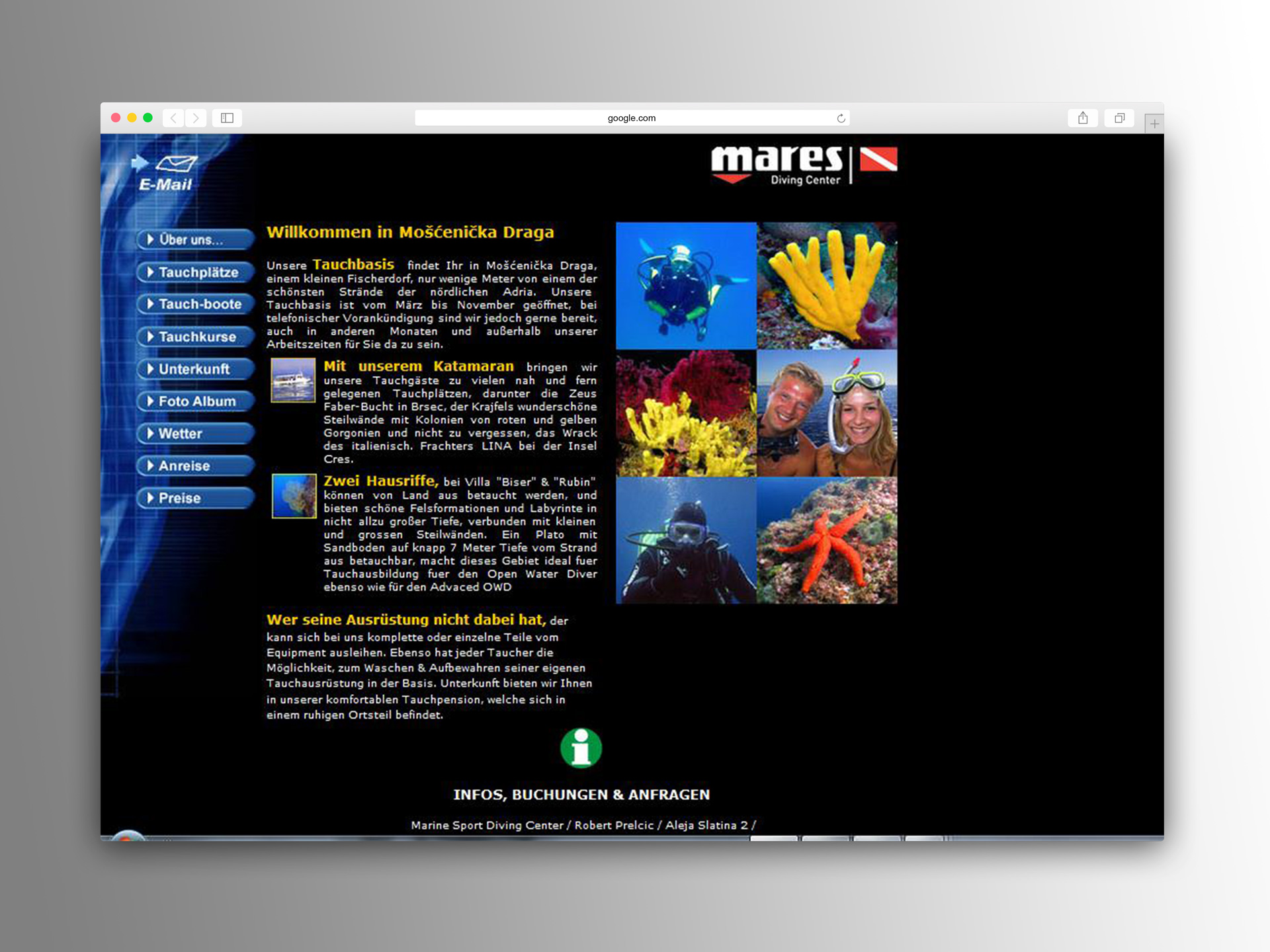The original German version of the Marine Sport dive center Home page