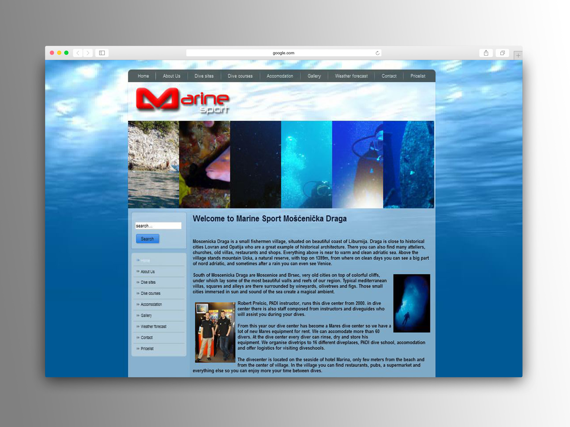 The redesigned English version of the Marine Sport dive center Home page